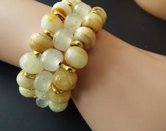 Jade and agate beaded stretch bracelet multi strand