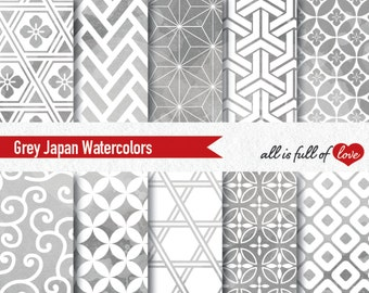 Grey Watercolor Digital Paper Japan Watercolor Print Grey Background Personal & Commercial Use Digital Scrapbook Geometric Patterns