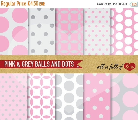 80% OFF Scrapbooking Digital Paper Pack PINK GREY Background to Print Digital Download valentines scrapbook wedding paper pack