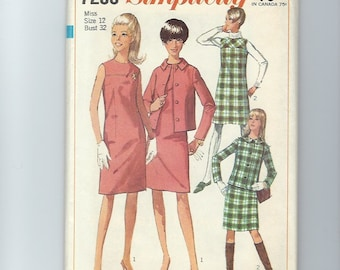 UNCUT Vintage Sewing Pattern Simplicity 7236 for Jacket, Dress and Jumper, Sz 12, 1960s