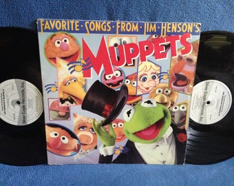 "RARE, Vintage, ""Favorite Songs From Jim Henson's Muppets"", Vinyl 2 LP Set, Record Album, Mahna Mahna, Muppet Show Theme, C Is For Cookie"