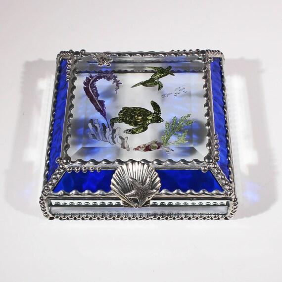 Etched Hand Painted Sea Turtle Treasure Box