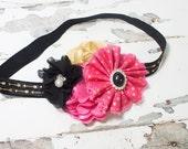 Uptown Girl  - headband in black, gold, and hot pink with fun metallic gold arrow elastic - RTS