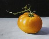 still life oil painting Yellow Tomato, oil on linen