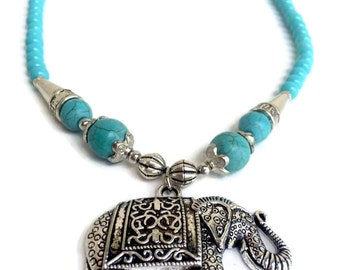 Elephant Pendant Turquoise Necklace (010N)