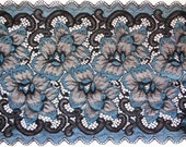"""Embroidered Tulle Extra Wide Floral Lace, Blue / Black, 8"""" inch wide, 1 Yard For Apparel, Home Decor, Accessories, Mixed Media, Scrapbook"""