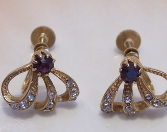Dainty Rhinestone Studded Half Bow Screw Back Earrings with Purple Rhinestone Accent