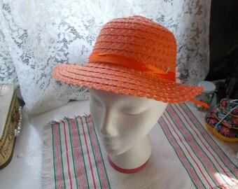 Very Nice Girls Sunbonett-Hat-EXCELLENT Condition -Orange