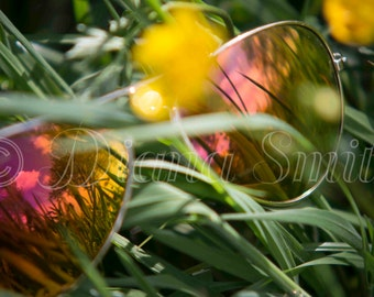 Sunglasses Reflection, Digital Download, Fine Art, Nature Photography, Flower Photography, Yellow, rainbow colors, grass, Creative Photo