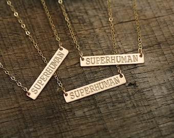initial bar necklace,hand stamped monogram bar necklace,Skinny Name Plate,Bridesmaid gift,Initial Rectangle necklace,superhuman necklace