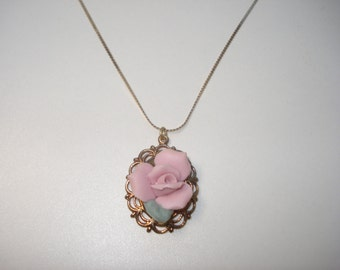 Vintage Rose Necklace Gold Tone with a Delicate Pink Flower Pendant - ML Costume Jewelry 1960s