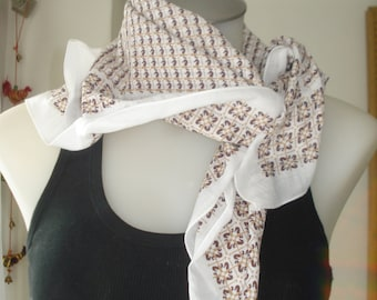 Vintage Cotton Scarf - Brown and White Patterned - Summer Square Scarves - Womens Accessories  France