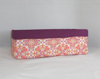 Long Fabric Basket Made With Pretty Purple And Orange Fabric For Storage Or Gift Giving