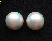 Green Stripes Cream Mabe Pearl Cabochon pair - 18mm round (2pcs)