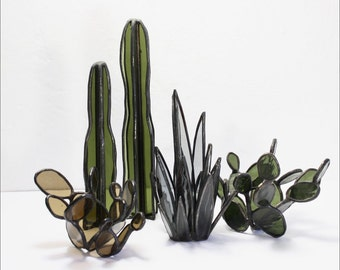 Stained Glass Cacti Sculptures (GROUP of 5) // Stained Glass Cactus