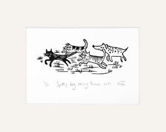 Spotty Dog racing cats - lino print, dogs, cat, pets, lino cut, printmaking, humour, animals,