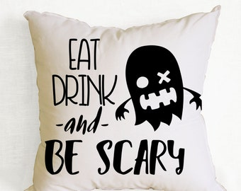 Minimalist Halloween decor, white and black pillow cover, Halloween pillow sham 18x18 inch, free shipping, quote pillow, scary pillow