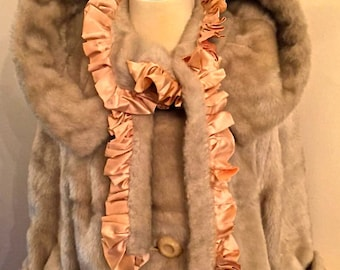 French vintage fur coat/jacket with satin lining. Upcycled Paris peaches and cream.