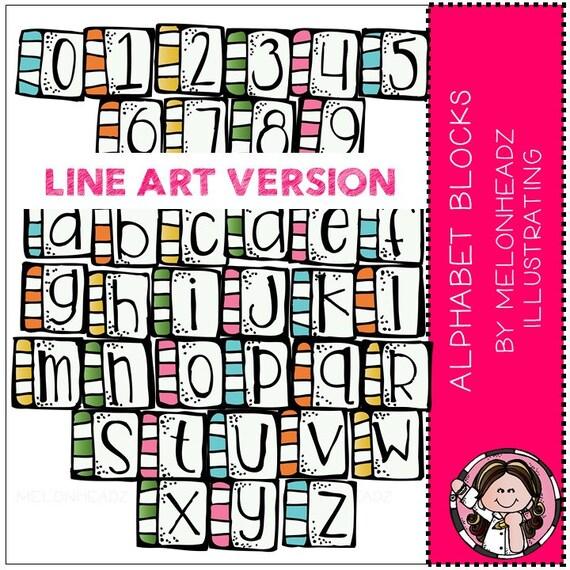 One Line Letter Art : Alphabet clip art blocks line