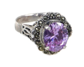 Art Deco Style Sterling Silver Marcasite and Amethyst Cocktail Ring, February Birthstone,Size 8