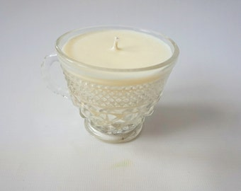Vintage Anchor Hocking repurposed glass soy candles- Champagne, Chocolate Mousse scent/ teacup candle/ vintage candle