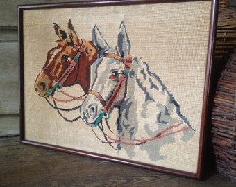 Paris Petit Point Horse Tapestry Framed Artwork, Equestrian Decor. French Farmhouse