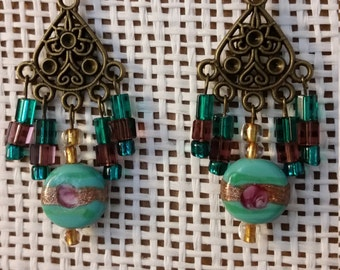 Antique Gold Tone Earrings with Turquoise colored Beads