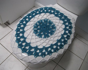 Crochet Toilet Seat Cover or Crochet Toilet Tank Lid Cover - frosted sapphire/white (TSC13H or TTL13H)