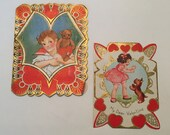 Vintage Valentine / Cute Boy & Girl Valentine Square shape Die Cuts 1930's-1940's Used