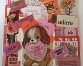 Valentine SCRAP PACK / Vintage 40 Pc. Paper Pack Pink Red Ephemera Pcs. for Altered Art, Collage, Mixed Media, DIY Scrap Kit