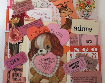Valentine SCRAP PACK / Vintage 40 Pc. Paper Pack Pink Red Ephemera Pcs. for Altered Art, Collage, Mixed Media, DIY Scrap Kit