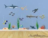 Ocean Wall Decals, Large Underwater Wall Decal Set, Sharks, Fish and Ocean Floor