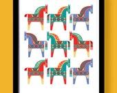Dala horses print, Swedish Dala horses poster, Mid Century Style, Eames era, scandinavian design, Traditional Swedish Horse, Giclee print