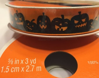 3 yards of scary Pumpkin Halloween ribbon, 5/8 inch wide (HR7)