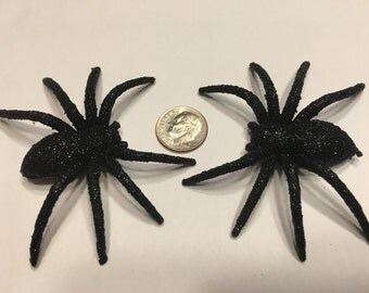 3 large black plastic glitter spiders, 60 x 75 mm (BR220)