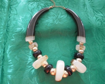 Vintage Statement Necklace Heavy Black, Gold and Opaque Large Bead Necklace.