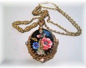 """Hand painted Cameo necklace, 24"""" chain"""