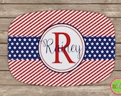 Design Your Own Personalized Melamine Platter, Monogrammed 4th of July Platter, Hostess Gift, Wedding Gift, Red, White, and Blue