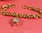 Pennino Faceted Crystal Lantern Charm Bracelet - Vintage