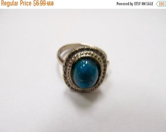 ON SALE Vintage Faux Turquoise Adjustable Ring Item K # 1977