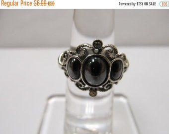 On Sale AVON Ornate Silver Tone Ring with Rhinestones and Faux Hematite Stones Item K # 2524