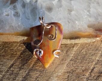 Music note guitar pick bronze wire wrapped noreena jasper