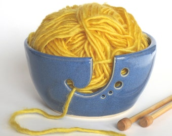 Yarn Bowl, Knitting Bowl With Astral Blue Glaze - Pottery Yarn Bowl - In Stock - Ceramic Yarn Bowl, Ready to Ship