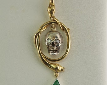 Victorian memento mori skull snake emerald diamond rare pendant