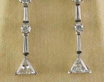Exceptional 2.80 Ct fancy cut diamond vintage drop earrings
