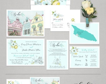 Destination wedding Aruba Oranjestad illustrated wedding invitation Aruban Caribbean floral wedding invitation Deposit Payment