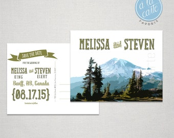 Destination wedding invitation Mountain Colorado Canada  Save the Date Postcard Ski destination wedding Printed Wedding Stationary