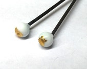 2 lampwork glass pendant / earring head pins in white with 23k gold