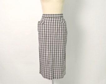 Vintage 1950s 50s Cotton Plaid Pencil Skirt Deadstock NOS