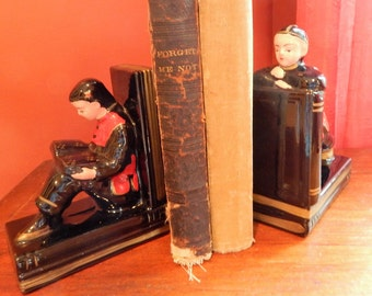 Vintage Ceramic Bookend Set Asian Boy and Girl Made in Japan